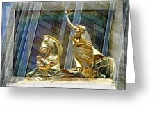 Golden Horse In The City Greeting Card