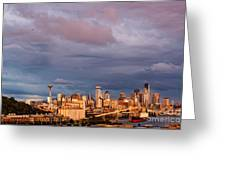 Golden Hour Reflected On Downtown Seattle And Space Needle - Seattle Washignton State Greeting Card