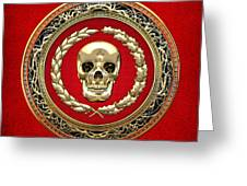 Golden Human Skull On Red   Greeting Card