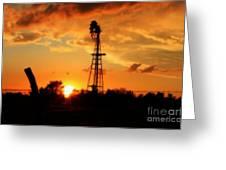 Golden Kansas Sunset With Windmill Greeting Card by Robert D  Brozek