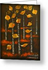 Golden Leaves 1 Greeting Card by Elena  Constantinescu