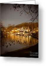 Golden Light At Boathouse Row Greeting Card