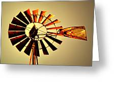 Golden Light Windmill Greeting Card by Marty Koch