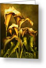 Golden Lilies By Night Greeting Card