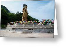 Golden Maitreya Statue, Beopjusa Temple Greeting Card
