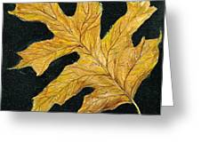 Golden Oak Leaf Greeting Card