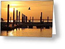 Golden Pier At Sunset Greeting Card