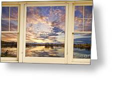 Golden Ponds Scenic Sunset Reflections 4 Yellow Window View Greeting Card