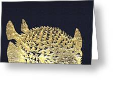 Golden Puffer Fish On Charcoal Black Greeting Card