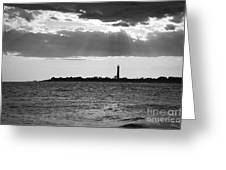 Golden Rays At Cape May Bw Greeting Card