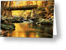 Golden Reflection Autumn Bridge Greeting Card