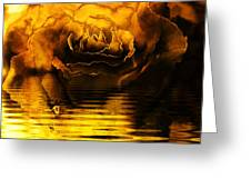 Golden Rose On The Lake Greeting Card