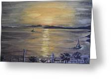 Golden Sea View Greeting Card
