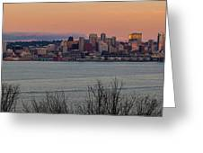 Golden Seattle Skyline Sunset Greeting Card