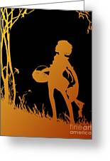Golden Silhouette Of Child With Basket Walking In The Woods Greeting Card
