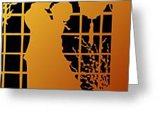 Golden Silhouette Of Couple Embracing Greeting Card