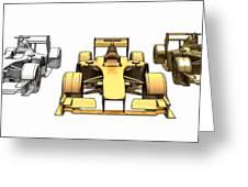 Golden Silver Bronze Race Car Color Sketch Greeting Card