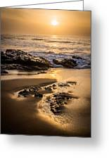 Golden Sunset At The Beach Greeting Card