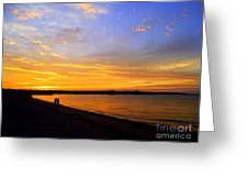 Golden Sunset On The Harbor Greeting Card