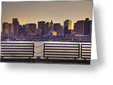 Golden Sunset Over Boston Greeting Card