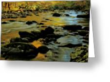 Golden View Of The Little River In Autumn Greeting Card by Dan Sproul