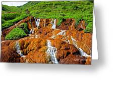 Golden Waterfall Landscape  Greeting Card