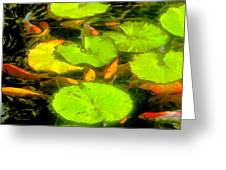 On Goldfish Pond Artwork Greeting Card