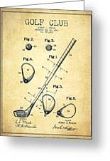 Golf Club Patent Drawing From 1910 - Vintage Greeting Card