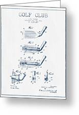 Golf Club Patent Drawing From 1917 - Blue Ink Greeting Card