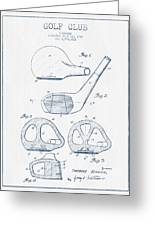 Golf Club Patent Drawing From 1926 - Blue Ink Greeting Card