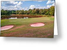 Golf Course Beautiful Landscape On Sunny Day Greeting Card