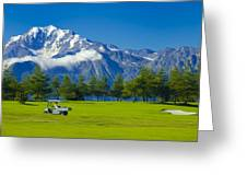 Golf Course Riederalp Swiss Alps Switzerland Greeting Card