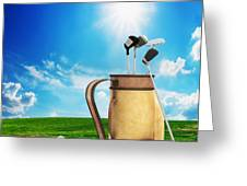 Golf Equipment And Ball On Golf Course Greeting Card