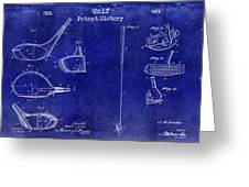 Golf Patent History Drawing Blue Greeting Card