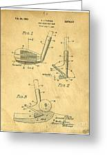 Golf Sand Wedge Patent On Aged Paper Greeting Card