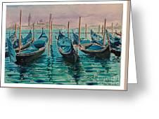 Gondolas At The Pier Venice Greeting Card
