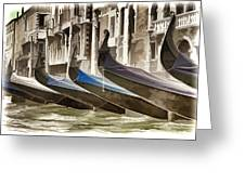 Gondolas-in-waiting   Venice Greeting Card