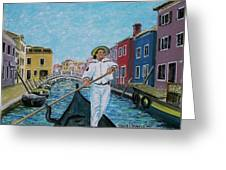 Gondolier At Venice Italy Greeting Card