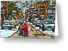 Good Day In January For Winter Stroll Snowy Trees And Cars Verdun Street Scene Painting Montreal Art Greeting Card
