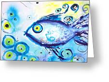 Good Luck Fish Abstract Greeting Card