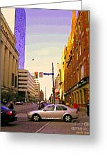 Good Morning Drive By Yonge St Starbucks Toronto City Scape Paintings Canadian Urban Art C Spandau  Greeting Card