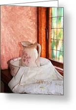 Good Morning- Vintage Pitcher And Wash Bowl  Greeting Card