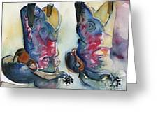 Cowboy Boots In Watercolor Good Ride Greeting Card