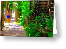 Goodbye Walking Away New Friends New Places To Visit Streets Of Verdun Montreal Art Scenes C Spandau Greeting Card