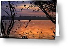 Goodnight Lake Greeting Card by Cindy Greenstein