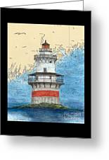Goose Rocks Lighthouse Me Nautical Chart Peek Art Greeting Card