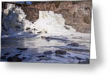 Gooseberry Middle Falls In Winter Greeting Card