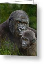 Gorilla And Baby Greeting Card