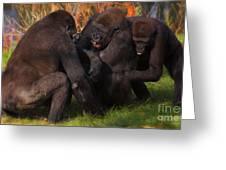 Gorillas Having Fun Together  Greeting Card