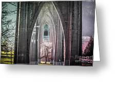 Gothic Arches Hands Folded In Prayer Greeting Card